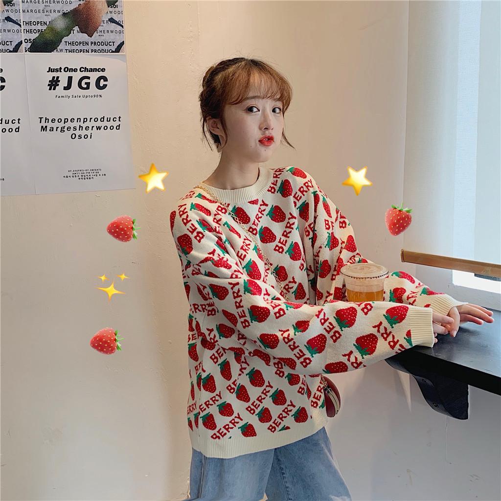 2019新款秋冬毛衣女寬松外穿草莓甜美系學生慵懶風上衣套頭針織衫
