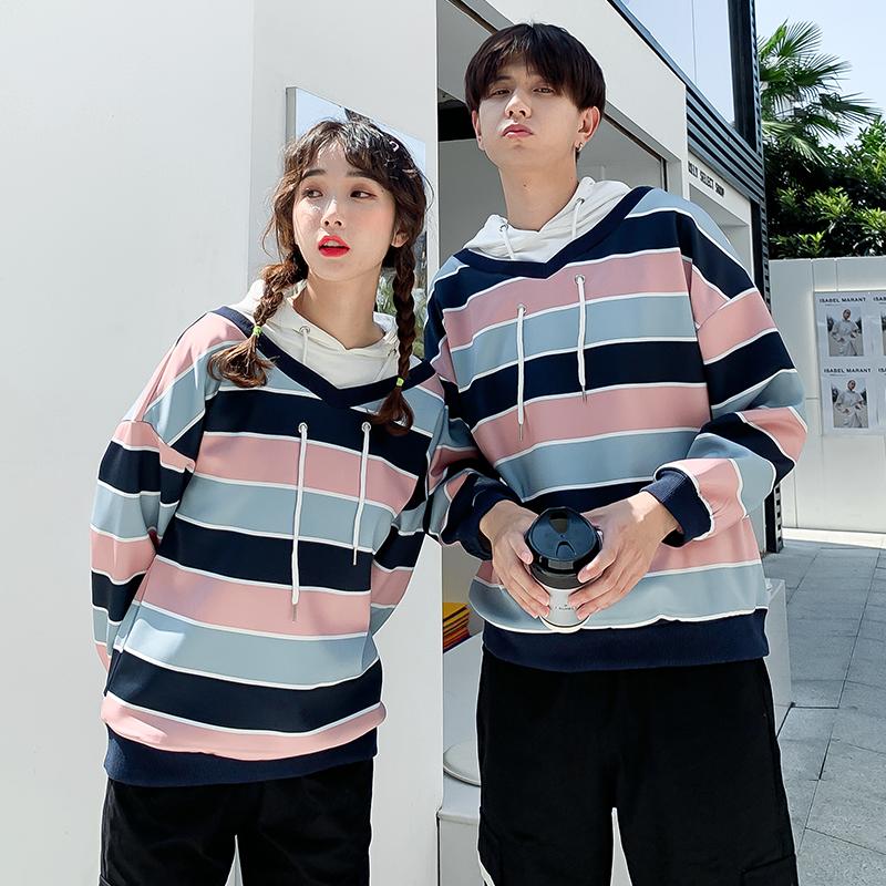 亚博娱乐平台入口新款同色系情侣装秋装新款条纹拼接卫衣宽松外套班服现货