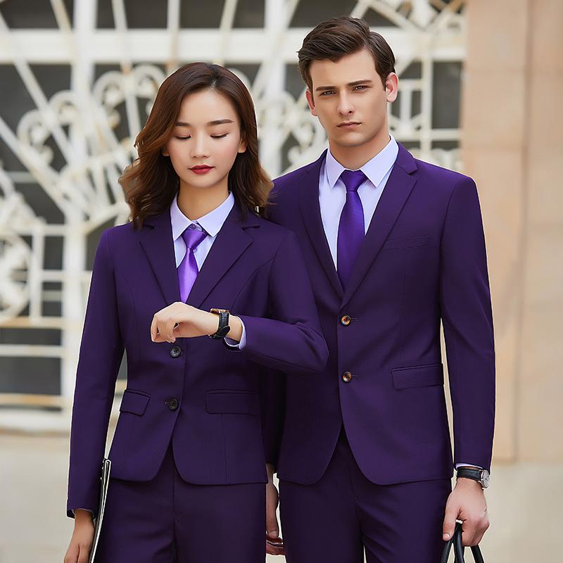 實拍兩??畚餮b2019年秋冬新款男女同款職業裝氣質西服套裝