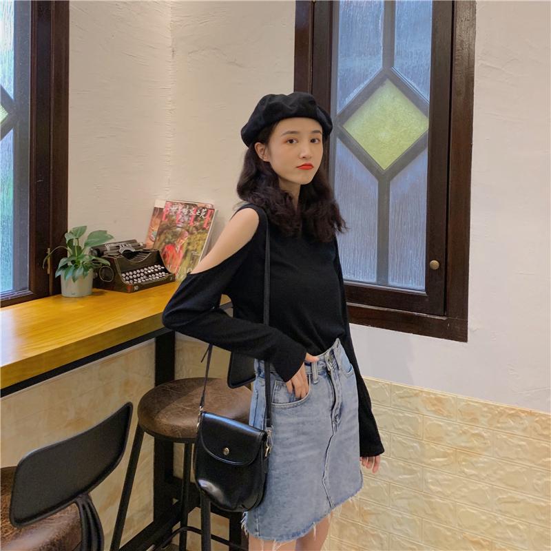 亚博娱乐平台入口长袖T恤女镂空性感修身上衣泫雅风漏肩