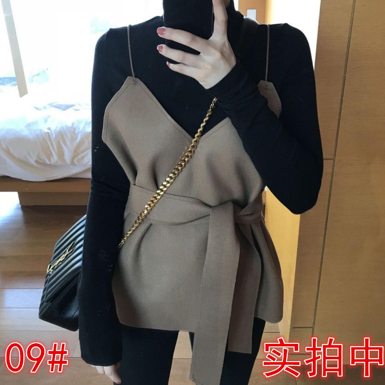 秋季新款高腰系带吊牌V领背心长袖黑色半高领针织打底衫两件