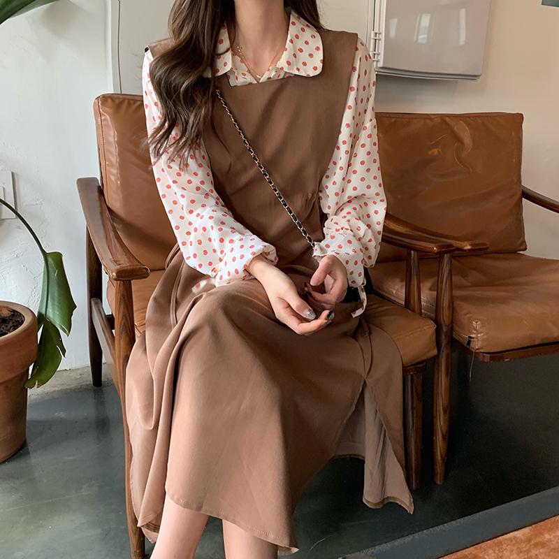 實拍實價韓國氣質少女秋季新款波點荷葉袖襯衫+收腰背帶連衣裙女