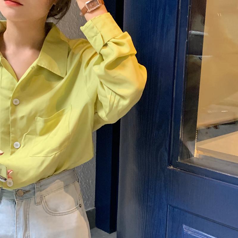 韩国chic 秋季气质翻领黄绿色宽松长袖衬衫女 现货