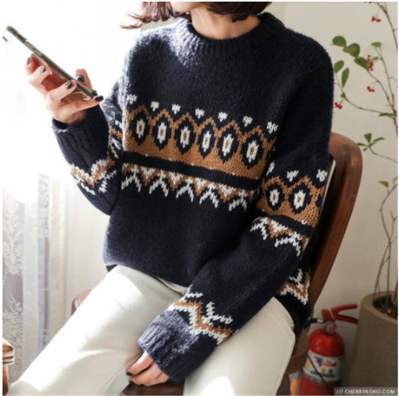 现货韩国女装秋冬新款羊衫领针织衫百搭长袖加厚套头纯色打底毛衣