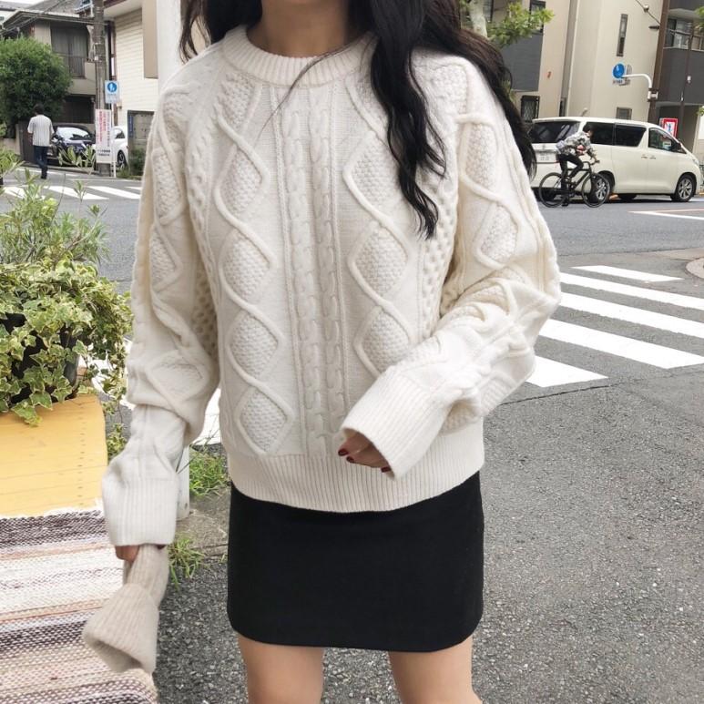 现货 韩国INS 高端档口 麻花编织 羊毛套头毛衣