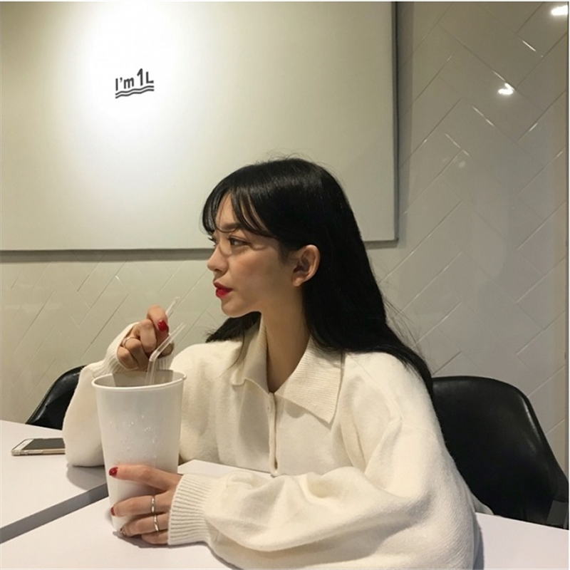 现货。韩国chic鬼马少女系半开衫式翻领灯笼袖毛衣针织衫