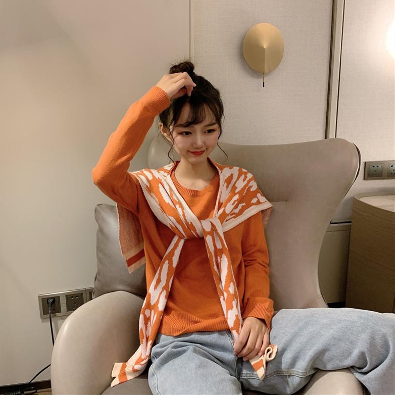 實拍實價控5 韓版撞色豹紋外搭潮洋氣針織披肩+簡約長袖針織衫