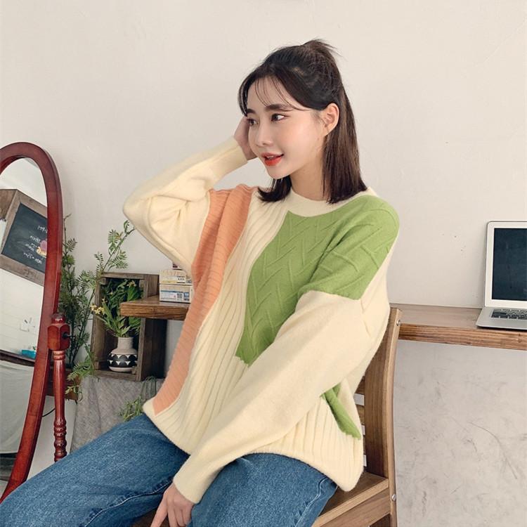 实现货新款女装秋装韩国拼色卫衣打字毛衣条纹炫彩百搭毛针织衫