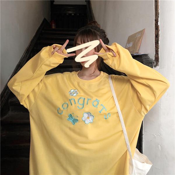 亚博娱乐平台入口秋季新款韩版宽松长袖卫衣女chic泫雅风黄色字母百搭学生上衣
