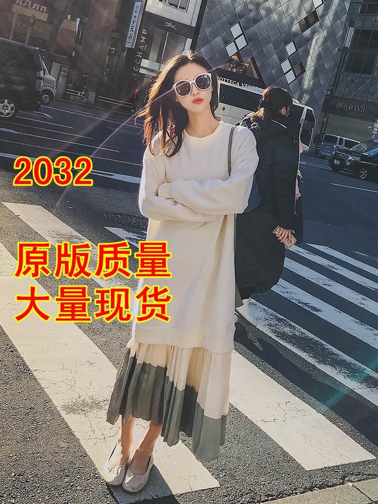 連衣裙2019年秋裝新款女春季學生寬松拼接中長款初秋長袖衛衣裙子