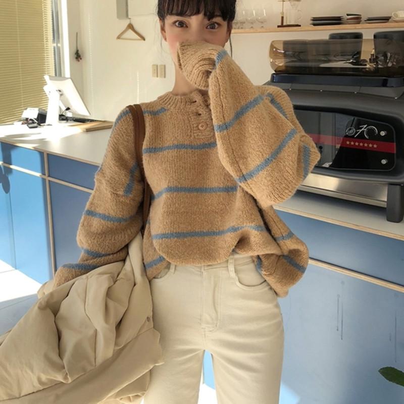 现货女装针织衫秋冬甜美少女条纹针织衫韩国套头卫衣毛衣
