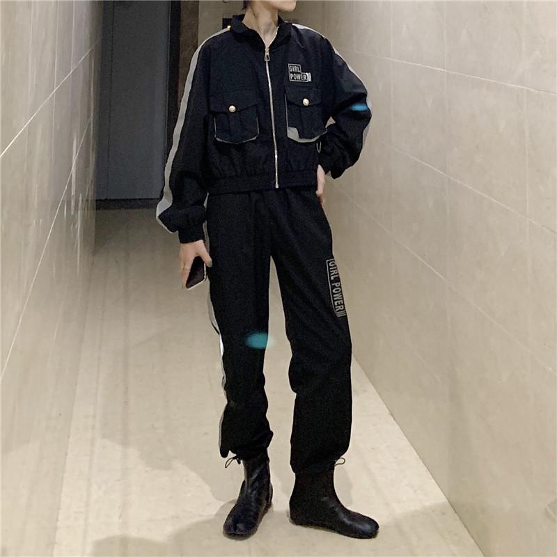 控5 實拍實價 新款機車風秋季炫酷反光ins潮時尚外套運動套裝