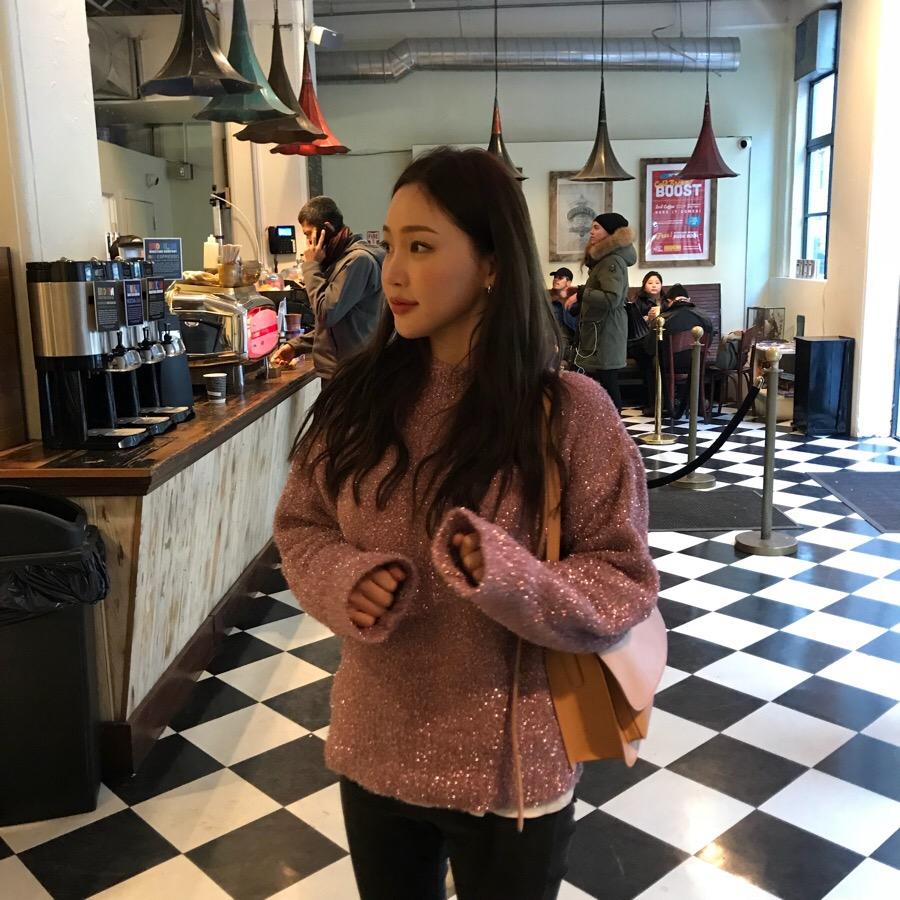 实价 韩国chic风 金属质感闪闪Bling抢眼甜美套头毛衣