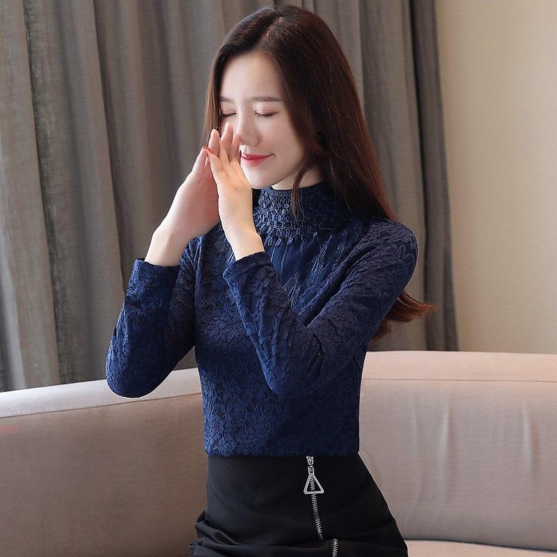 實拍加絨加厚蕾絲衫秋冬新款上衣韓版立領小衫長袖女打底衫