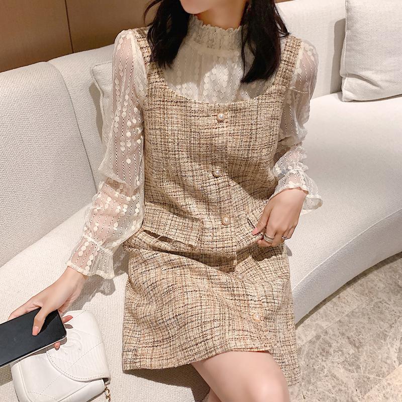 现货亚博娱乐平台入口韩国chic复古小香风连衣裙套装蕾丝打底衫+混线背心裙