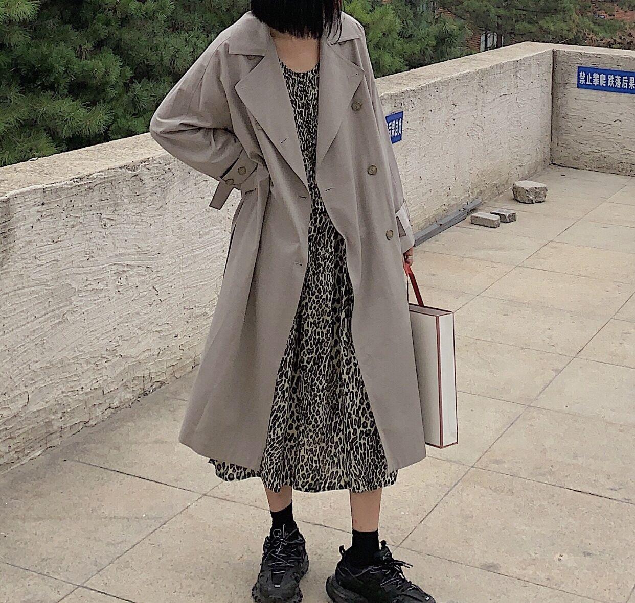 實拍 現豹紋長款無袖連衣裙+風衣