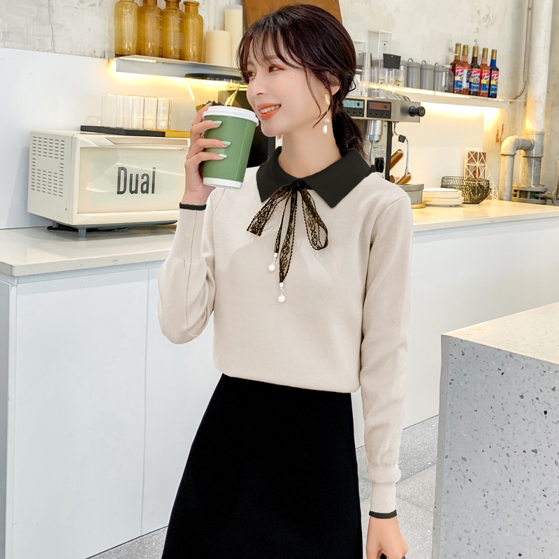 2019秋季新款韩版蕾丝系带蝴蝶结插色翻领长袖修身显瘦针织衫