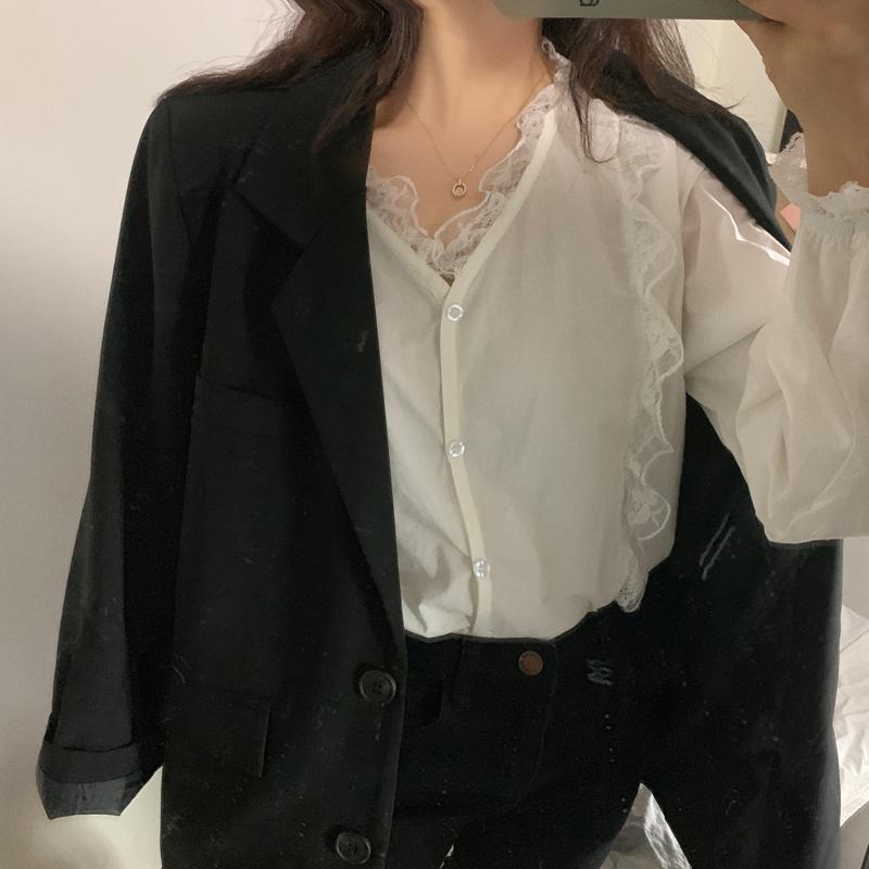 HEYGIRL黑哥 气质长袖内搭蕾丝衬衫女 韩版薄款仙女上衣2019秋季