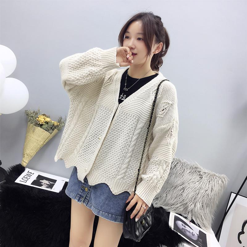 實拍秋冬新款韓版慵懶風V領毛衣開衫女寬松顯瘦甜美簡約外套