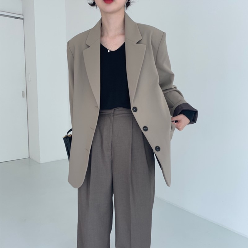 实价 韩国chic 简约 基础款 休闲 百搭 西装 外套