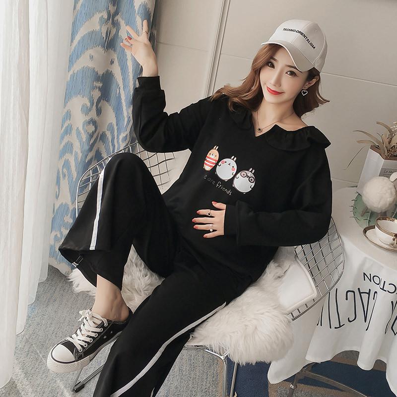 模特實拍 2019孕婦裝秋裝新款孕婦套裝 衛衣+托腹褲