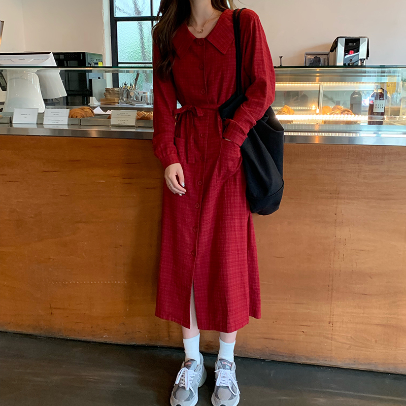 實拍實價秋季格子長袖連衣裙綁帶收腰顯瘦復古法式桔梗裙長裙子女