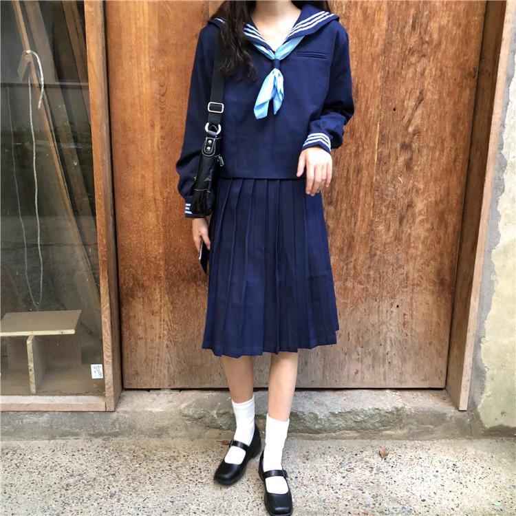 實拍現貨 日系復古學院風水手服女上衣短裙子jk套裝