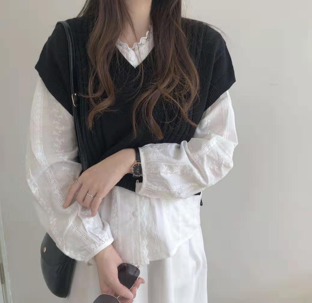 實拍實價2019 秋裝韓版毛衣寬松純色套頭v領針織衫馬甲