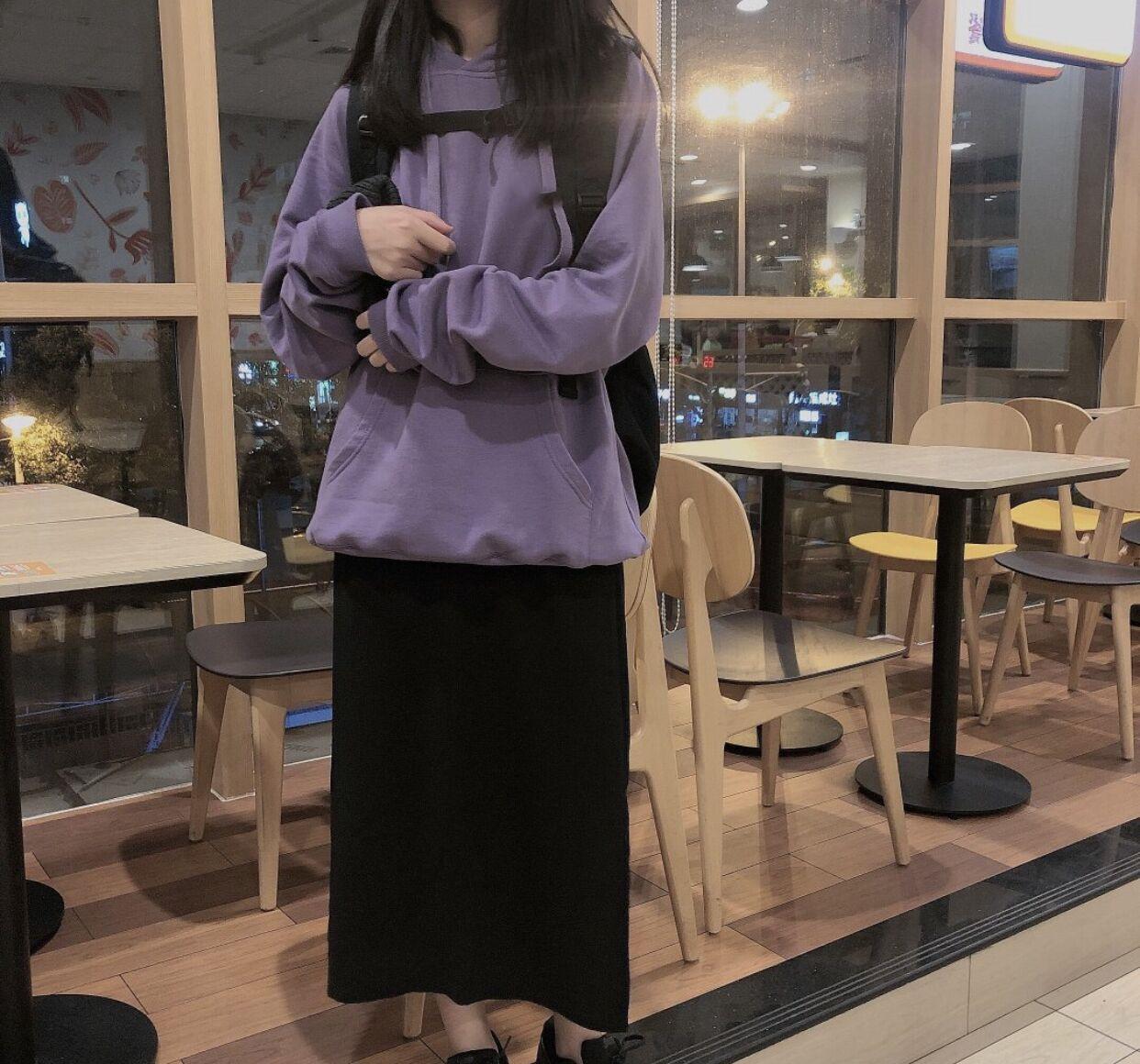 !實價實拍秋日的紫色 純棉衛衣+黑色裙子