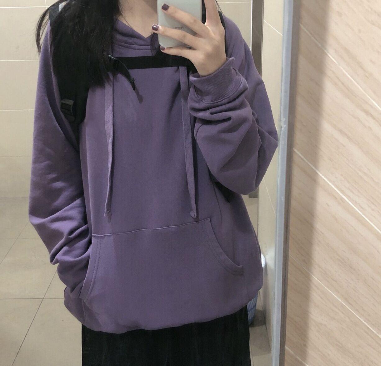 實價實拍秋日的紫色 純棉衛衣+黑色裙子