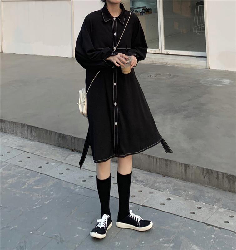 实拍 实价 复古明线中长款单排扣长袖翻领风衣连衣裙