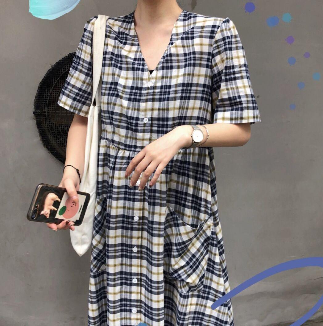 實拍 實價 韓系元氣格子寬松連衣裙