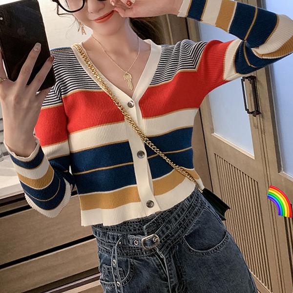 早秋季2019新款v領彩色條紋針織衫女短款修身外搭開衫長袖薄毛衣