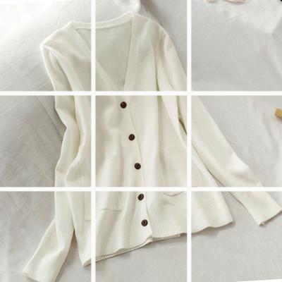 秋季新款寬松外搭針織衫開衫v領純色長袖毛衣外套女上衣