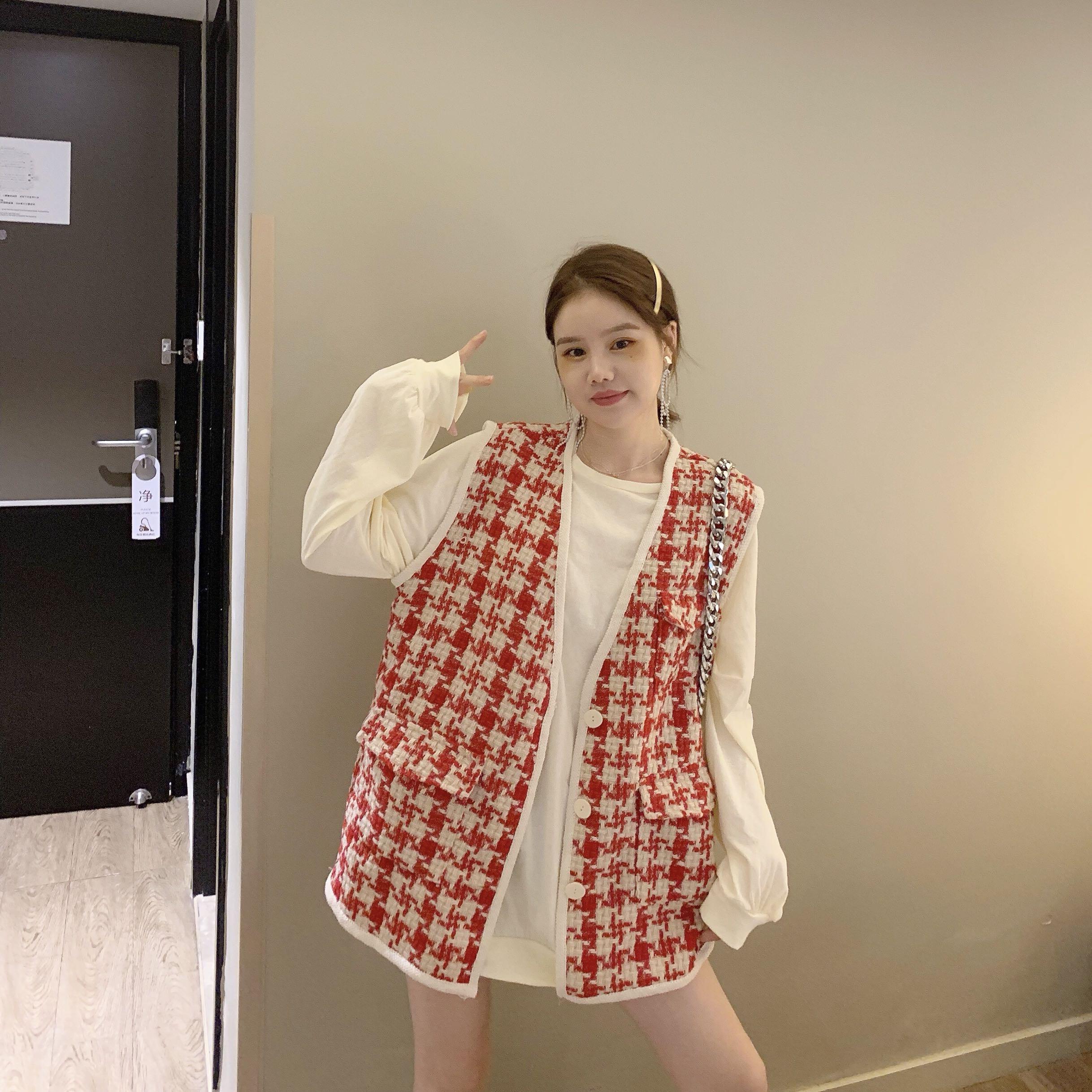 2019秋款新款孕婦小香風寬松長袖衛衣+千鳥格寬松馬甲兩件套