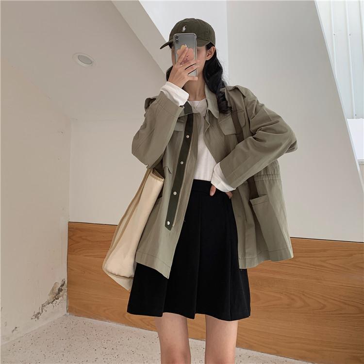 實拍~秋季韓版新款工裝風bf外套寬松薄款帥氣風衣夾克潮