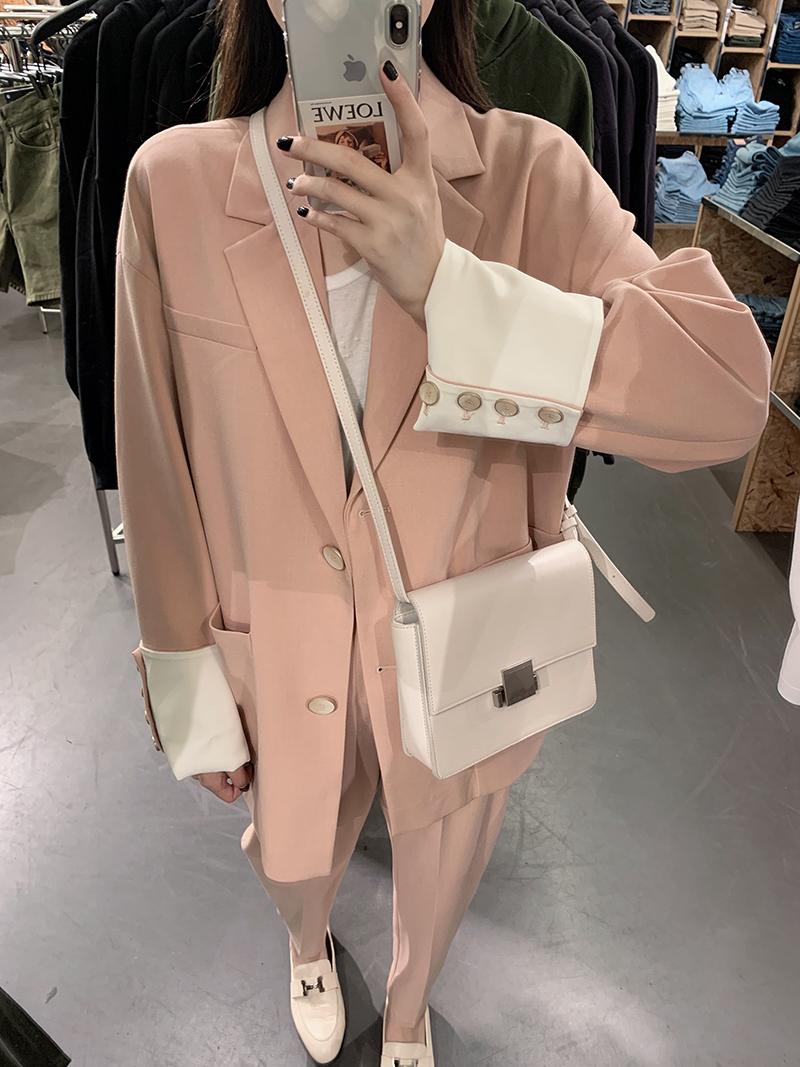 滕雨佳休閑小西裝套裝女2019初秋新款韓版時尚氣質網紅顯瘦兩件套