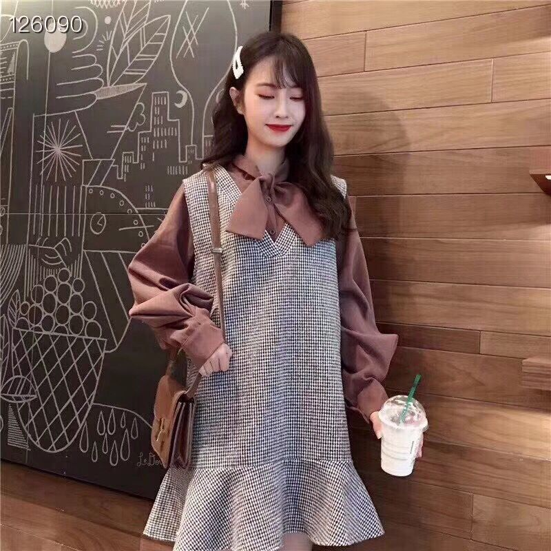 2019秋冬季新款洋氣毛呢馬甲連衣裙女小個子顯瘦網紅時尚兩件套裝