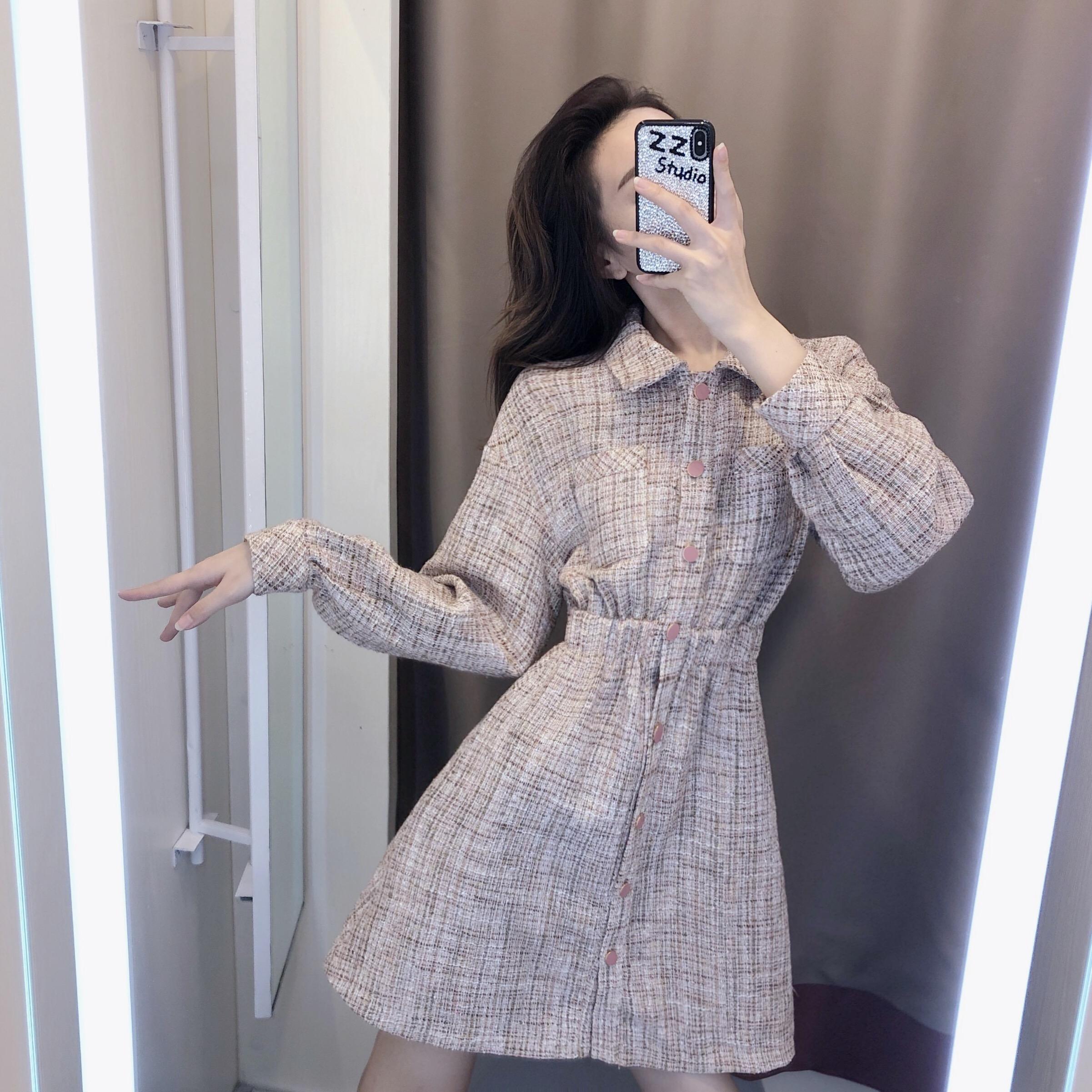 小香風連衣裙2019年新款秋季女裝早秋打底裙收腰顯瘦法式復古氣質