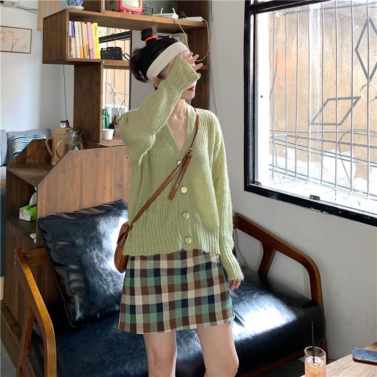 實拍 現貨 韓版新款短款慵懶風針織開衫+高腰格子短裙兩件套裝