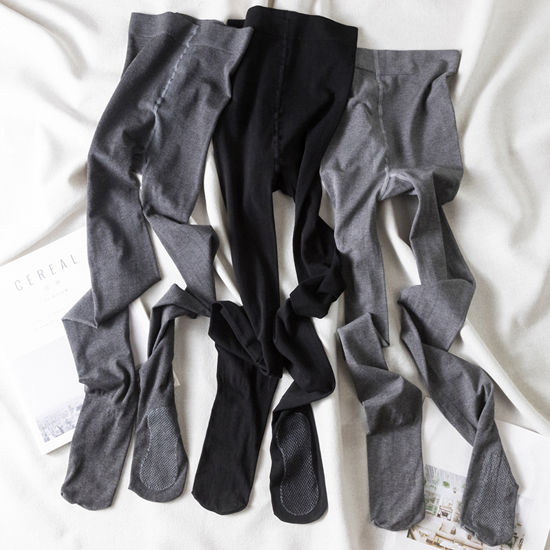实拍实价 打底裤女秋季显瘦条纹修身连袜裤一体