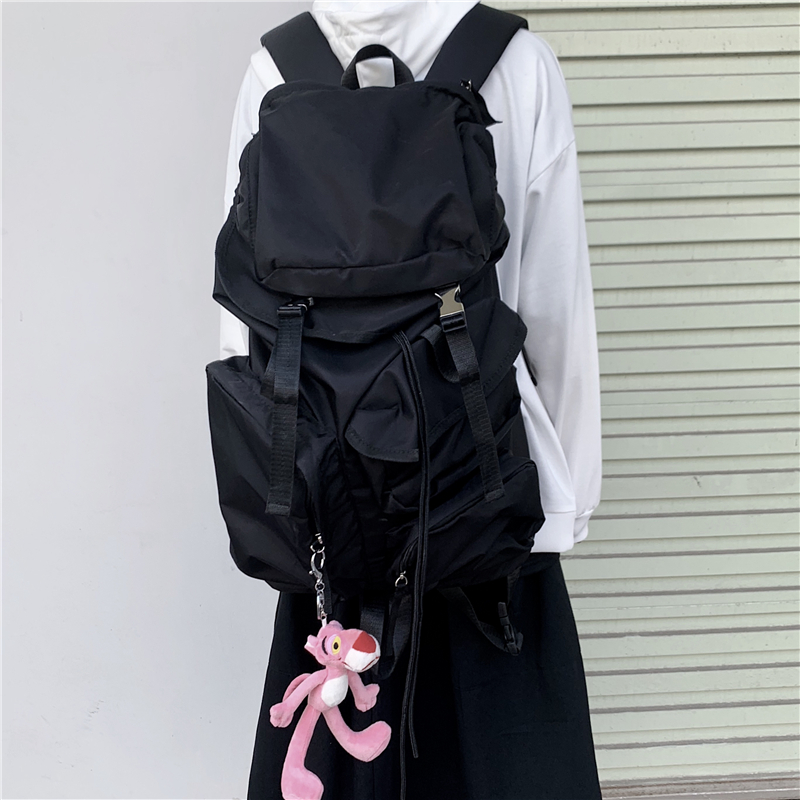 不减 控75 原宿风街头复古百搭大容量工装双肩包男女学生背包潮