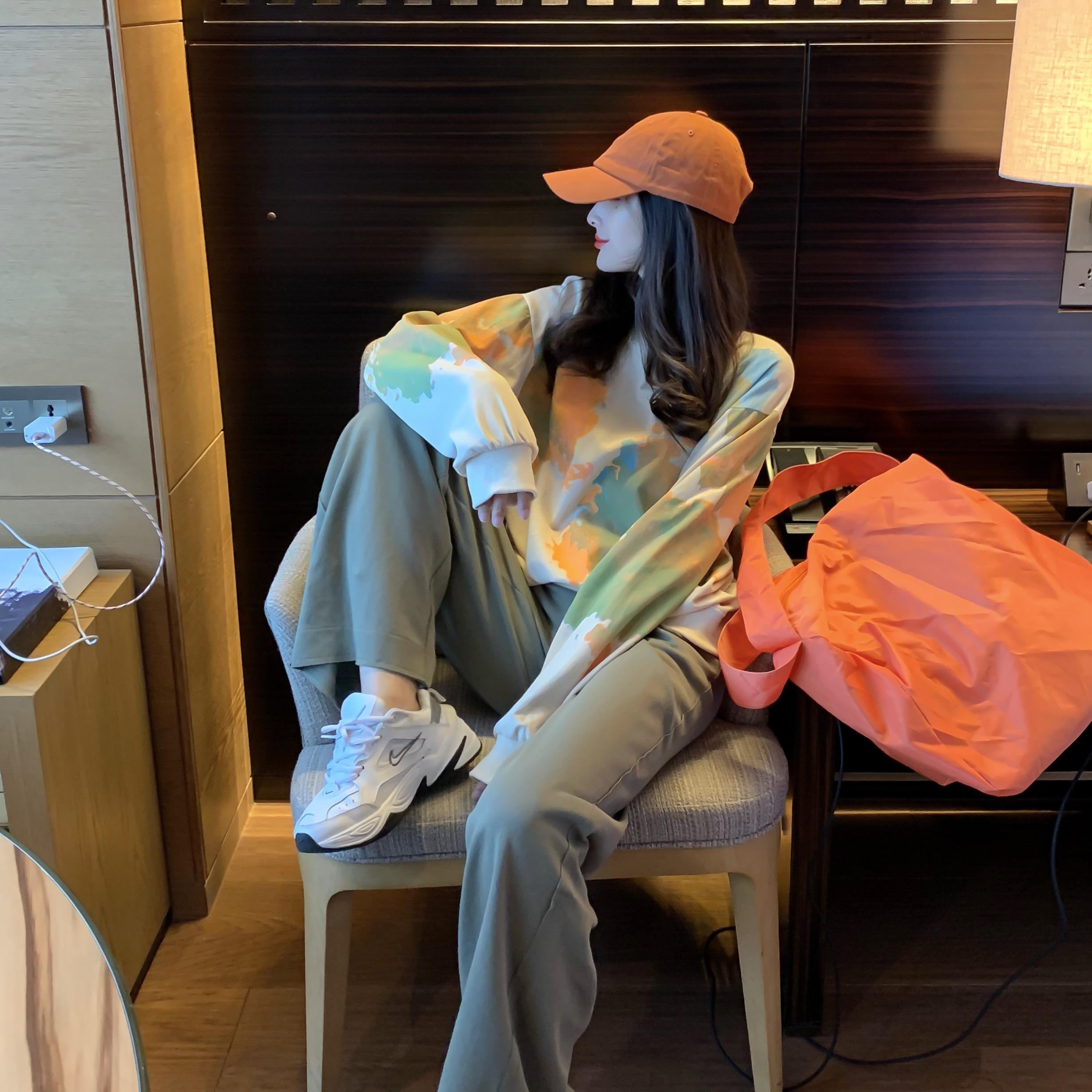 實拍實價#2019年潮扎染彩色衛衣女初秋時尚韓版寬松休閑運動套裝