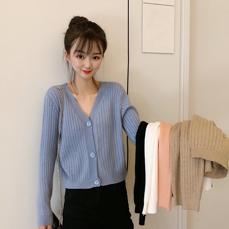 實拍實價 韓版秋裝新款網紅修身顯瘦V領短款外套長袖針織開衫上衣