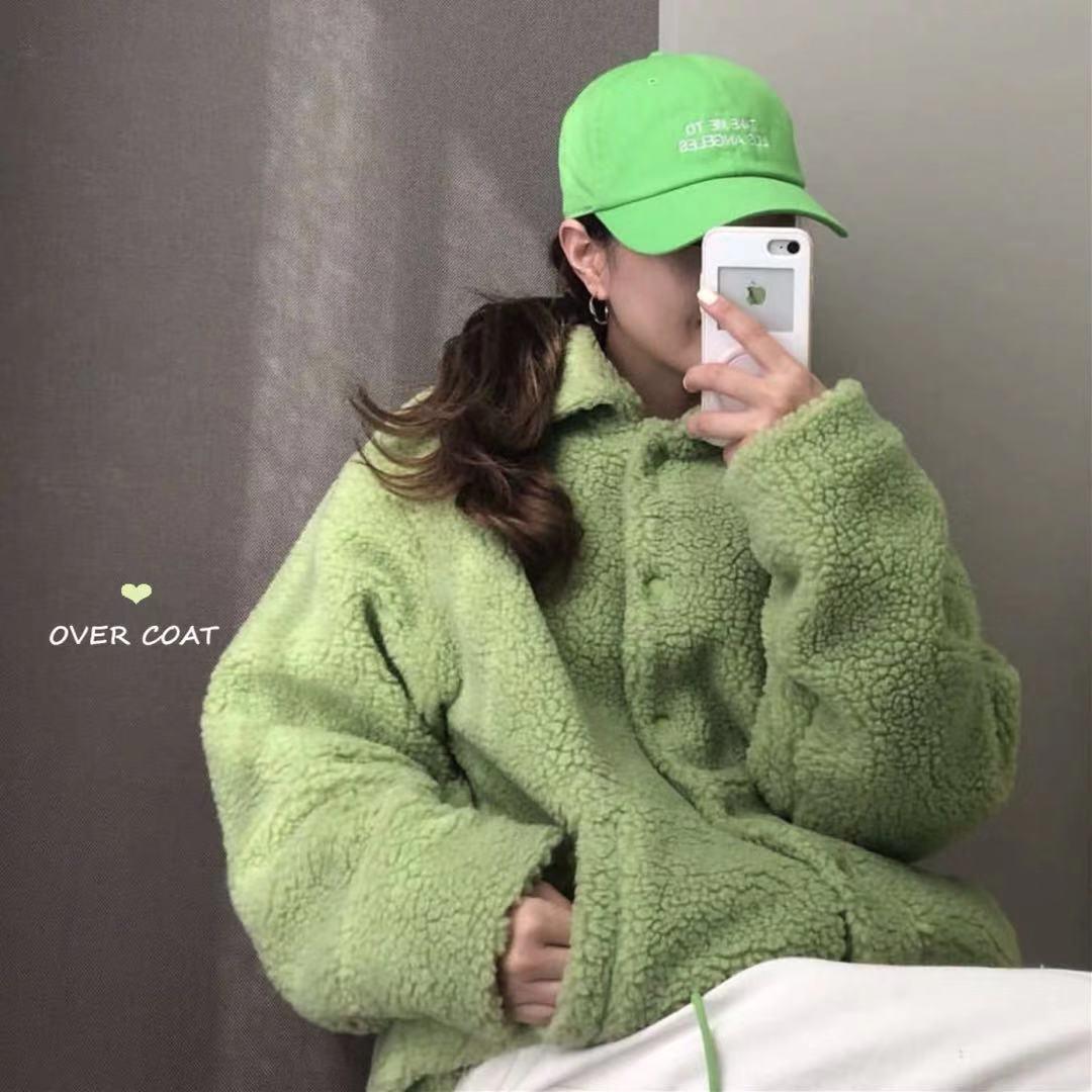 实价 韩国果绿色羊羔毛外套保暖夹克冬