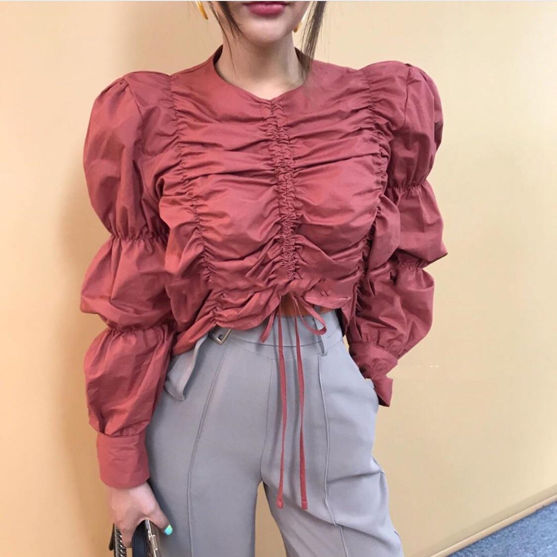 現貨 東大門2019胭脂紅顯白娃娃襯衫