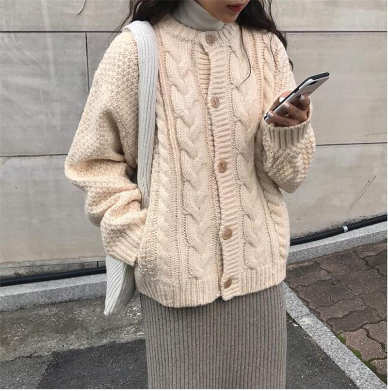 鬼馬系元氣少女~ins大熱學院風重工麻花扭繩開衫毛衣