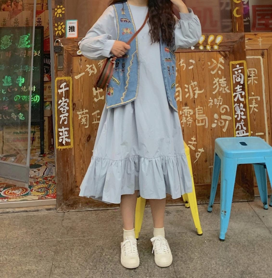 實拍控5古著商店復古牛仔馬甲女刺繡韓版領秋季寬松外穿背心+裙子
