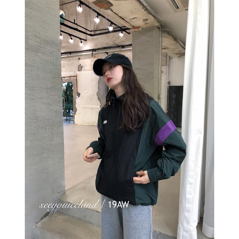 seeyouiceland_运动风 / 廓形印字黑绿拼色冲锋衣短款外套