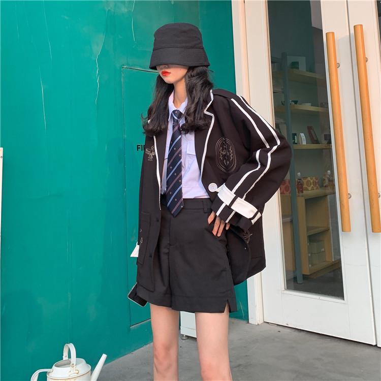 實拍實價 韓版寬松氣質英倫風西裝3件套套裝
